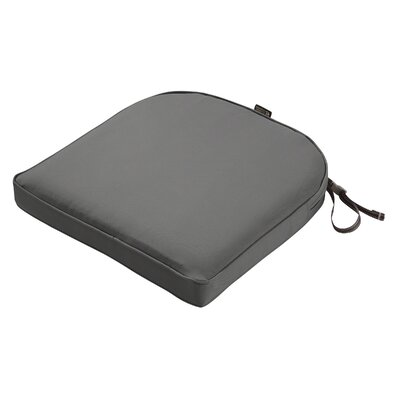 Montlake FadeSafe Contoured Outdoor Dining Chair Cushion Fabric: Light Charcoal Gray, Size: 2 H x 18 W x 18 D