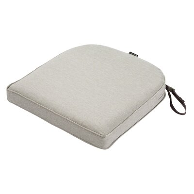 Montlake FadeSafe Contoured Outdoor Dining Chair Cushion Fabric: Heather Gray, Size: 2 H x 18 W x 18 D
