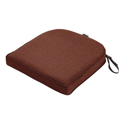 Montlake FadeSafe Contoured Outdoor Dining Chair Cushion Fabric: Heather Henna Red, Size: 2 H x 18 W x 18 D