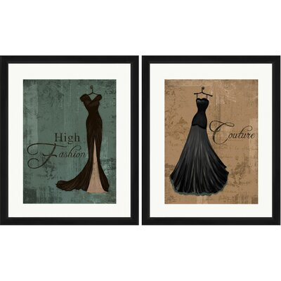High Fashion 2 Piece Framed Graphic Art Set 1-17009set