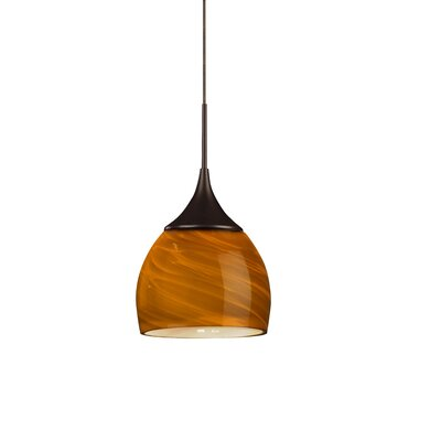 Essex 1-Light Mini Pendant Finish: Rubbed Bronze, Shade Color: Amber