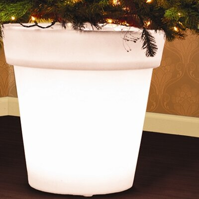 Stella Illuminated Christmas Tree Round Pot Planter Color: White
