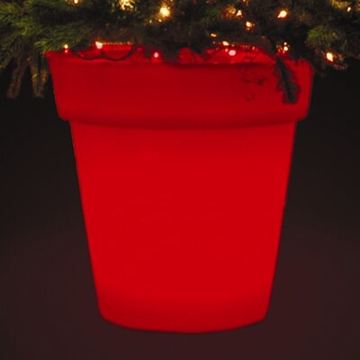 Stella Illuminated Christmas Tree Round Pot Planter Color: Red