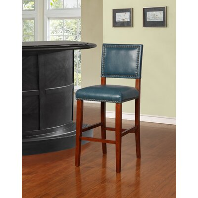 Elias 30 Bar Stool Finish: Brown, Upholstery: Pacific Blue