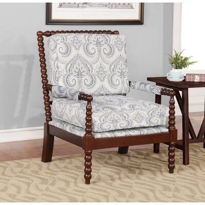 Shellplant Spindal Arm Chair Upholstery: Blue Paisley, Finish: Dark Walnut