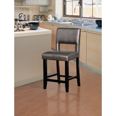 Tolland 24 Bar Stool Finish: Black, Upholstery: Pewter