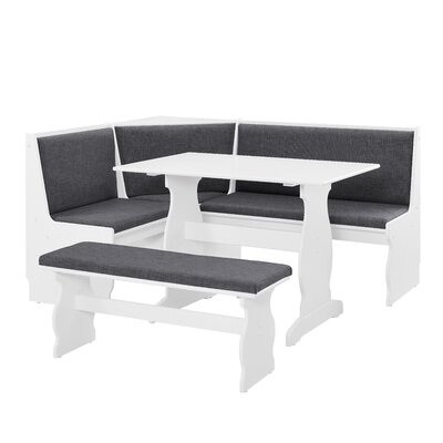 Olivia Nook Traditional 3 Piece Dining Set Upholstery Color: Charcoal