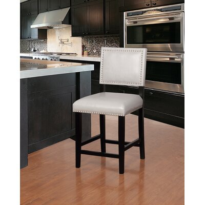 Elias 24 Bar Stool Finish: Black, Upholstery: Dove Gray
