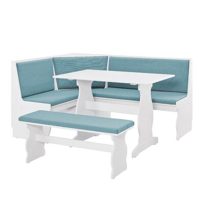 Olivia Nook Traditional 3 Piece Dining Set Upholstery Color: Capri Blue