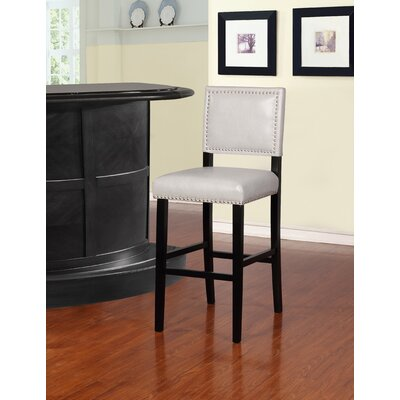 Elias 30 Bar Stool Finish: Black, Upholstery: Dove Gray
