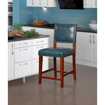Elias 24 Bar Stool Finish: Brown, Upholstery: Pacific Blue
