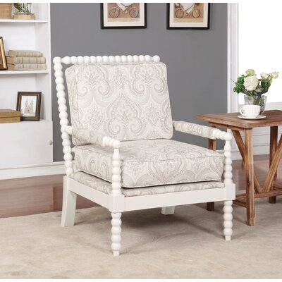 Shellplant Spindal Arm Chair Upholstery: Beige Paisley, Finish: Cream