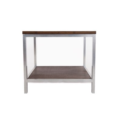 Betances Steel Framed Bamboo Rectangular Side Table Color: Gray