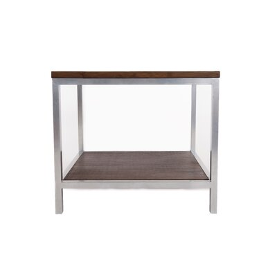 Betances Steel Framed Bamboo Side Table Color: Gray