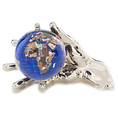 Gemstone Globe With Opalite Ocean Embraced And World In Your Hand Figurine Color: Caribbean Blue, Finish: Light Gold