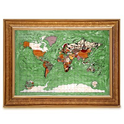 Alexander Kalifano Gemstone Globe Map with Opalite Ocean Framed Graphic Art - Size: Extra Large, Color: Peridot Green