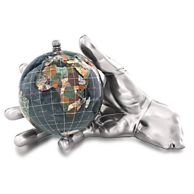 Gemstone Globe With Opalite Ocean Embraced And World In Your Hand Figurine Finish: Antique Silver, Color: Black Opal