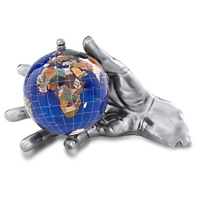 Gemstone Globe With Opalite Ocean Embraced And World In Your Hand Figurine Finish: Antique Silver, Color: Caribbean Blue