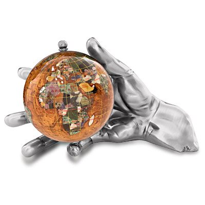 Gemstone Globe With Opalite Ocean Embraced And World In Your Hand Figurine Finish: Antique Silver, Color: Copper Amber