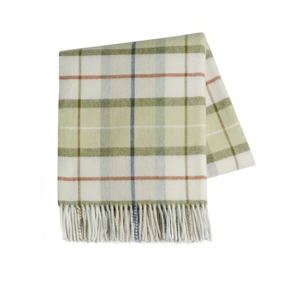 Italian Plaid Lambswool Throw Blanket Color: Green