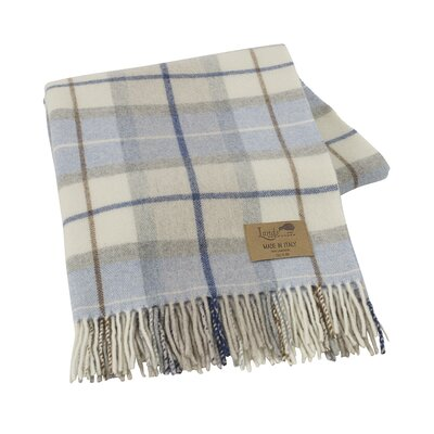 Italian Plaid Lambswool Throw Blanket Color: Blue