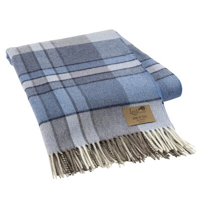 Mod Plaid Lambswool Throw Color: Blue