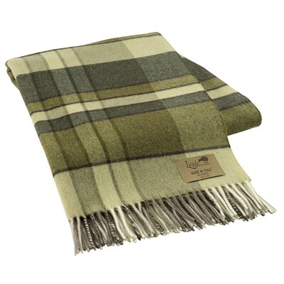 Mod Plaid Lambswool Throw Color: Green