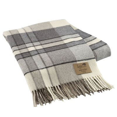 Mod Plaid Lambswool Throw Color: Gray