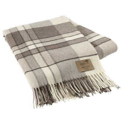 Mod Plaid Lambswool Throw Color: Taupe