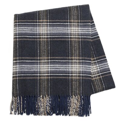 Plaid Signature Throw Blanket Color: Navy Blue