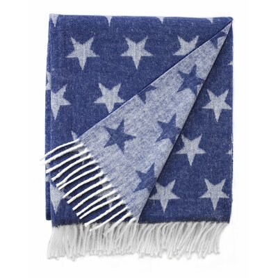 Reversible Star Jacquard Throw Blanket Color: Indigo