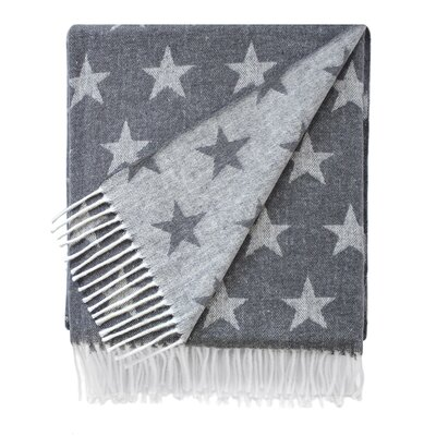 Reversible Star Jacquard Throw Blanket Color: Charcoal