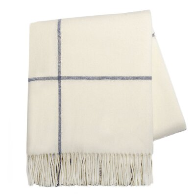 Italian Cashmere and Lambswool Plaid Natural Fiber Throw Color: Ecru / Navy