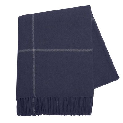 Italian Cashmere and Lambswool Plaid Natural Fiber Throw Color: Navy