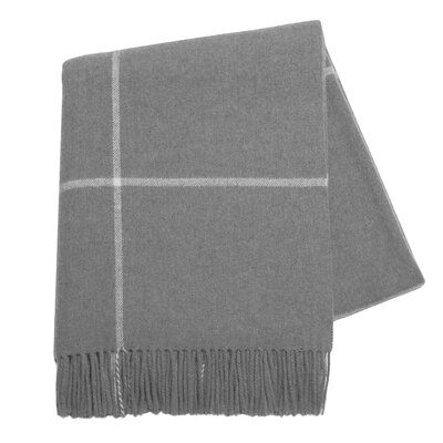 Italian Cashmere and Lambswool Plaid Natural Fiber Throw Color: Light Gray
