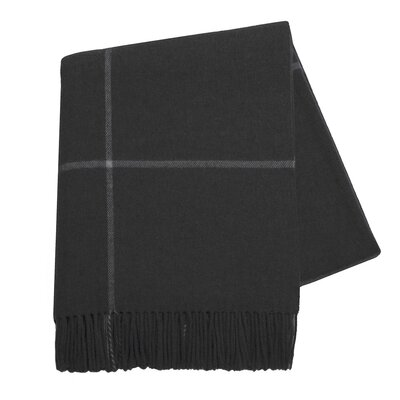 Italian Cashmere and Lambswool Plaid Natural Fiber Throw Color: Black