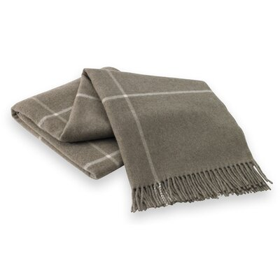 Italian Cashmere and Lambswool Plaid Natural Fiber Throw Color: Taupe