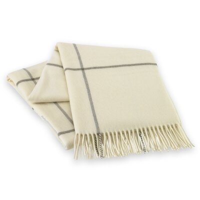 Italian Cashmere and Lambswool Plaid Natural Fiber Throw Color: White