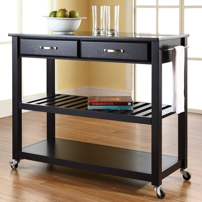 Saterfiel Kitchen Island with Granite Top Frame Finish: Black