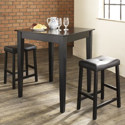 Dylan 3 Piece Pub Table Set Color: Black