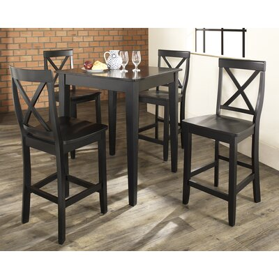 5 Piece Counter Height Pub Set Color: Black