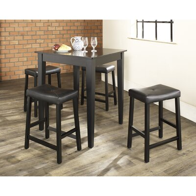 Oren 5 Piece Dining Table Set Color: Black