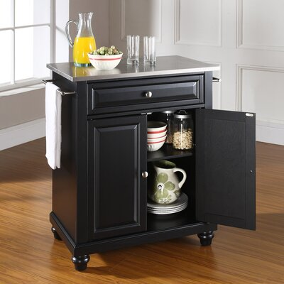 Crosley Cambridge Kitchen Island with Stainless Steel Top - Base Finish: Black at Sears.com