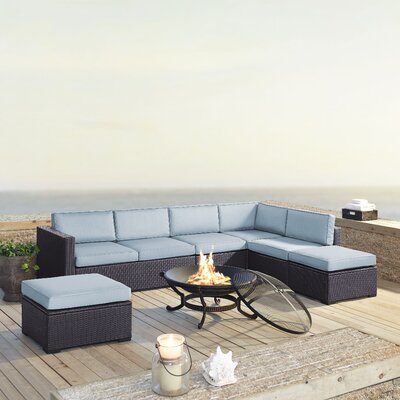 Dinah 7 Person Outdoor Wicker 6 Piece Deep Seating Group with Cushion Fabric: Mist