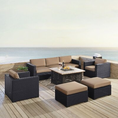 Dinah Outdoor Wicker 7 Piece Sectional Seating Group with Cushions Fabric: Mocha