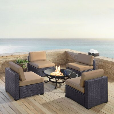 Dinah Outdoor Wicker 5 Piece Deep Seating Group with Cushions Fabric: Mocha