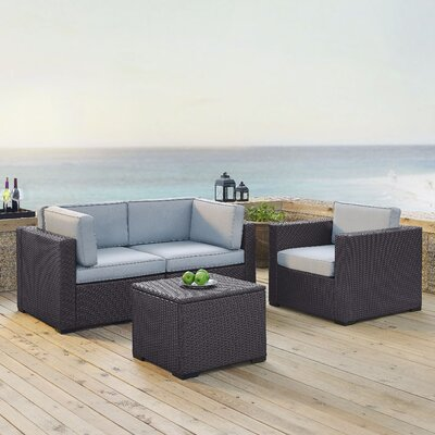 Dinah 3 Person Outdoor Wicker 4 Piece Sectional Seating Group with Cushion Fabric: Mist