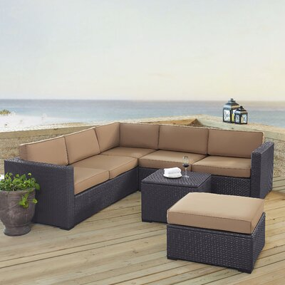 Dinah 6 Person Outdoor Wicker 5 Piece Sectional Seating Group with Cushion Fabric: Mocha