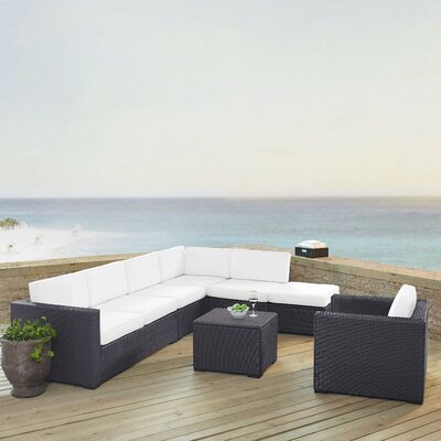 Dinah 7 Person Outdoor Wicker 6 Piece Steel Framed Sectional Seating Group with Cushion Fabric: White