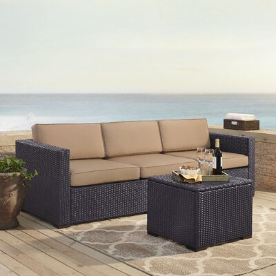 Dinah 3 Person Outdoor Wicker 3 Piece Deep Seating Group with Cushion Fabric: Mocha